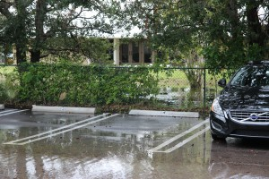 Students, teachers and staff battle flooded parking lots this morning