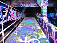 One of the many graffitied walkways found in the Miami Marines Stadium