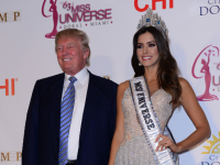 Miss Colombia Paulina Vega crowned Miss Universe 2014 (R) and Donald J. Trump attends The 63rd Annual Miss Universe Pageant press conference at Trump National Doral.  Doral, Florida on January 25, 2015.  (Photo by JL)