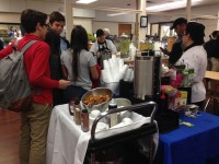 Students enjoy coffee, tea, and hot chocolate at the hot drinks bar. Photo by Brooke Ellis