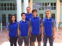 Sophomores Zachary Ashbel, Megan Garcia, Philip Gubbins, Brandon Stoyanovich stand with their coach Mr. Randall Smith.