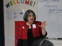 District 7 County Commissioner Daniella Levine-Cava serves as a local government adviser for the Youth to Power Raider Seminar on Oct. 27. Students were working on a proposal to improve county library resources.