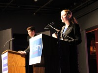 Senior Katherine Cohen and junior Raymond Gatcliffe debate in the Second Story Theater on Oct. 21. Photo by Emily Ponak.