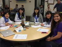 Japanese students work with Prep social science students
